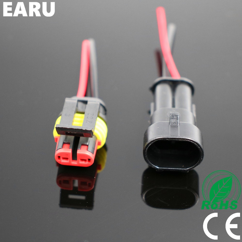 Free Shipping 1set 2 Pin 1P 3P 4P 5P 6P Way Waterproof Electrical Connector Adapter Plug with Wire Cable Car Vehicle Motorcycles black 50 sets 4 pin dj3041y 1 6 11 21 deutsch connectors dt04 4p dt06 4s automobile waterproof wire electrical connector plug
