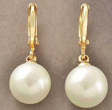 ร้อนขายใหม่-จัดส่งฟรี13376 Classyสตรีทองที่เต็มไปด้วยสีขาวเปลือกมุกลูกห้อยต่างหู10มิลลิเมตร