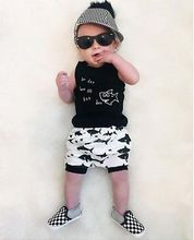 Baby Boy New fashion Cotton Sleeveless Tank Top+Fish Printed Short