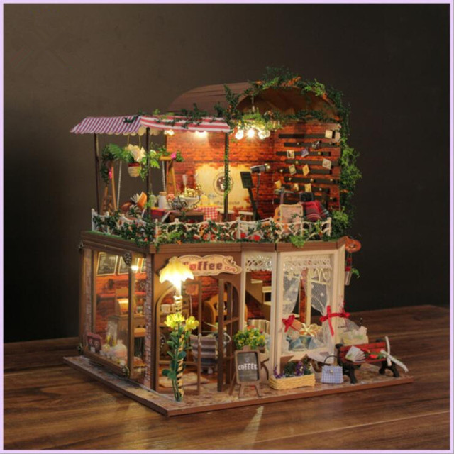 Adorable Wooden DIY Big Size Coffee Shop Doll House