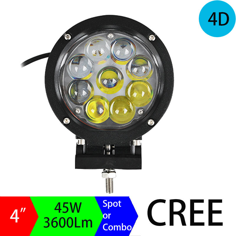 2pcs 45W LED Work Light 4 Inch Round LED Car Fog Light for Off Road 4WD Truch Tractor Marine Boat Use, 45W LED Driving Light