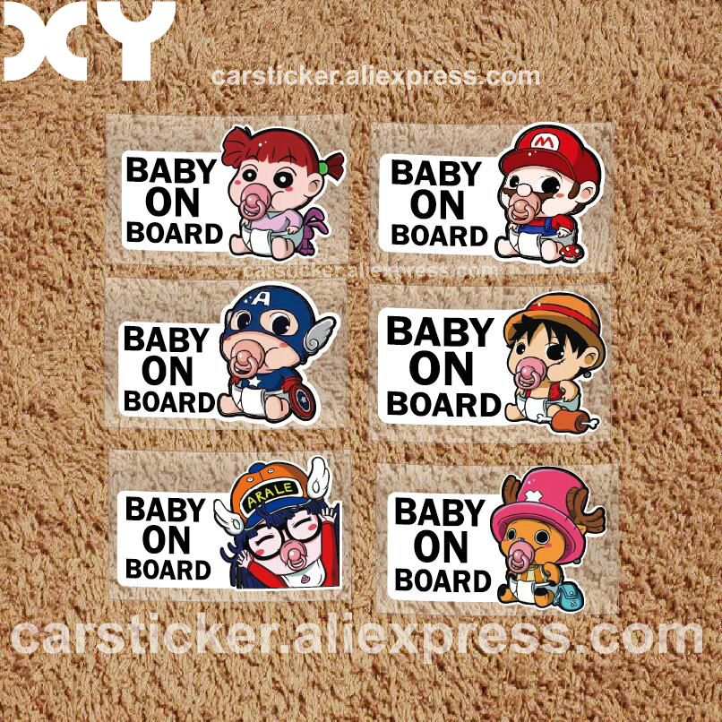 Xy superheroes baby on board car styling reflective car stickers decals baby in