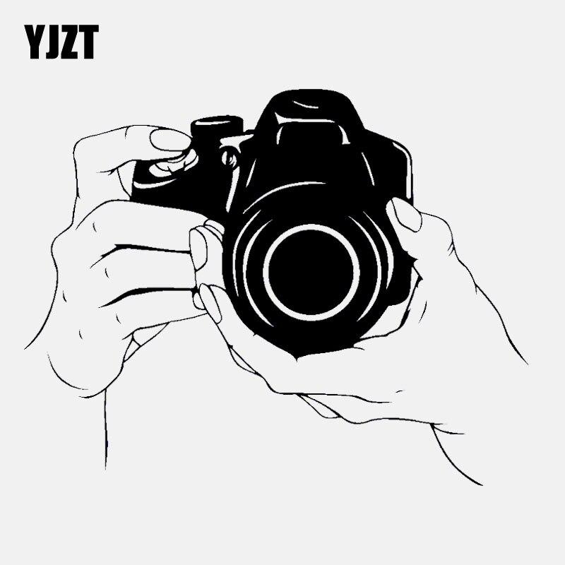 YJZT 15.2CM*11.9CM High Quality Camera Decal Photographer Vinyl Black/Silver Car Sticker C22-0819