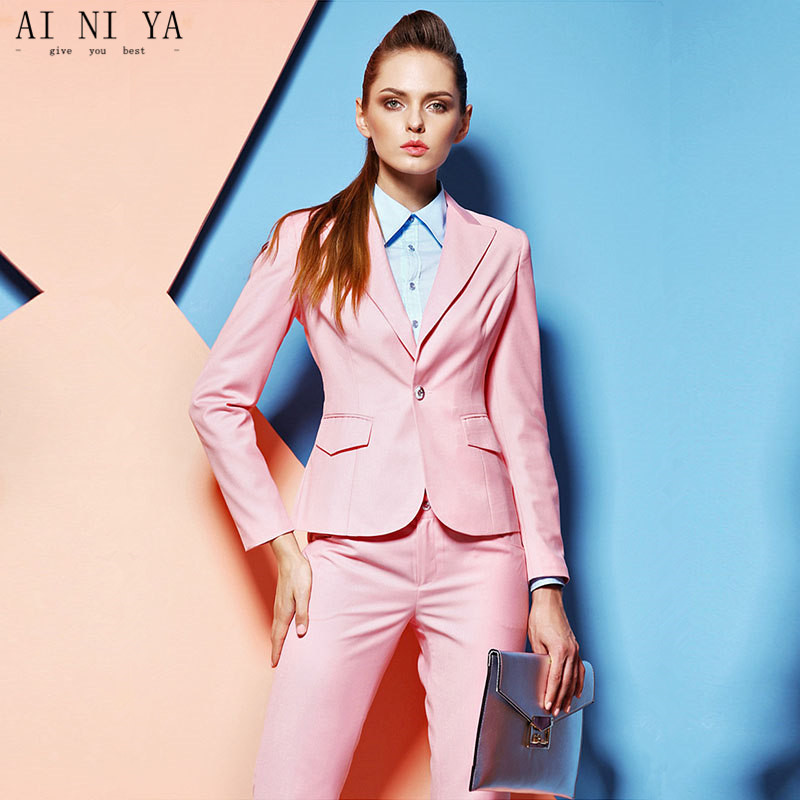 Women Pant Suits Perfect Pink Women Tuxedos Peaked Lapel Suits For Women one Button Business Women Suits