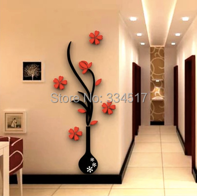 Free Shipping Acrylic Crystal 3d Stereoscopic Wall Stickers Plum Vase Home  Decoration Wall Stickers Backdrop Entrance M Size