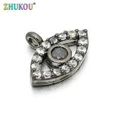 11*8mm Brass Cubic Zirconia Evil Eyes Charms Pendants DIY Jewelry Bracelet Necklace Making, Model: VD85