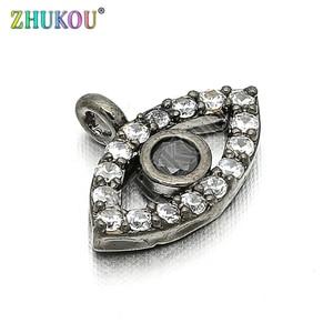 Image 1 - 11*8mm Brass Cubic Zirconia Evil Eyes Charms Pendants DIY Jewelry Bracelet Necklace Making, Model: VD85