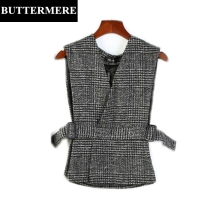 Wool Vest Women Sets Plaid Waistcoat Sleeveless Jacket Suit Spring Fashion Elegant Black Brown Gilet Designer Clothes Brand New