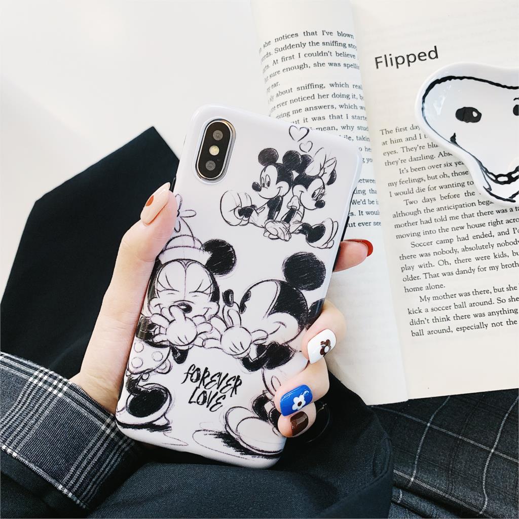 Love Mickey Minnie Funda For Iphone 7 Case Cute Cartoon IMD Phone Case For Iphone X XR XS Max 6 6S 7 8 Plus Cover Matte Capa