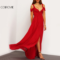 COLROVIE Sexy Ruched Maxi Party Dress 2017 Cold Shoulder Women Red Split Draped Summer Dresses Fashion