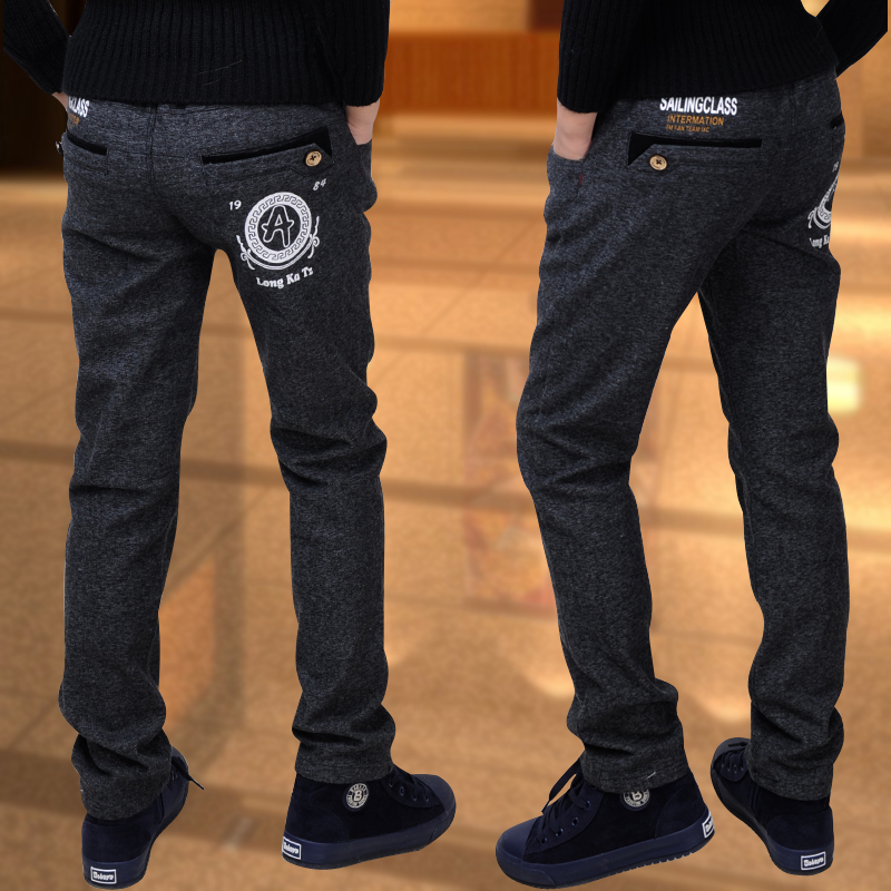 Boy trousers winter models big virgin stretch pants children casual pants boy pants plus thick velvet children Single / trousers