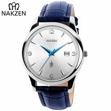 NAKZEN الحد الأدنى الكلاسيكية ساعة معصم العلامة التجارية الفاخرة الكوارتز الرجال الساعات تاريخ ساعة الذكور الرياضة كول ساعة هدية Relogio Masculino