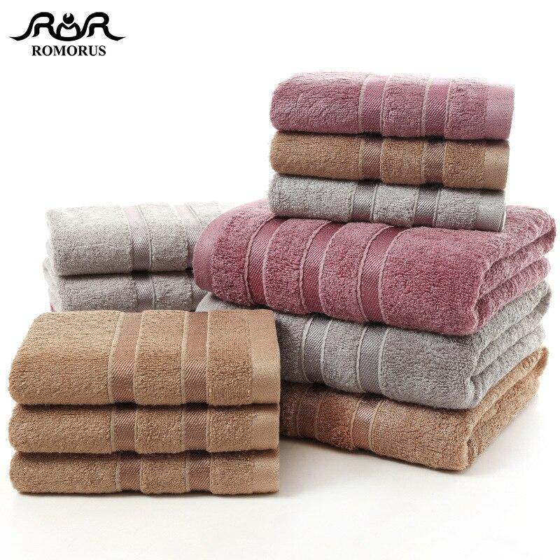 ROMORUS 100% Bamboo Fiber Towels Purple Gray Brown Bath Face Towel Set Cool Absorbent Healthy Bathroom for Adults
