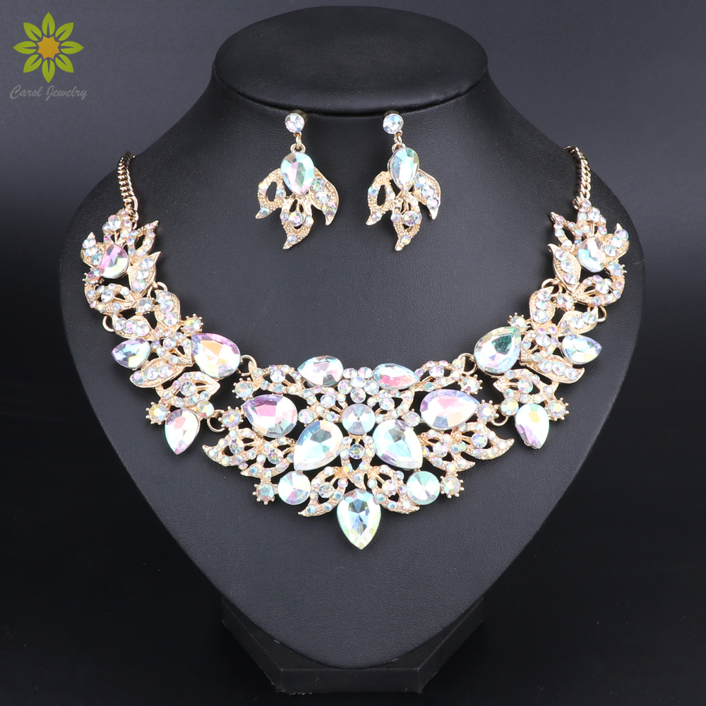 Bridal Wedding Party Jewelry Sets Crystal Rhinestone Pendant Necklace Earrings