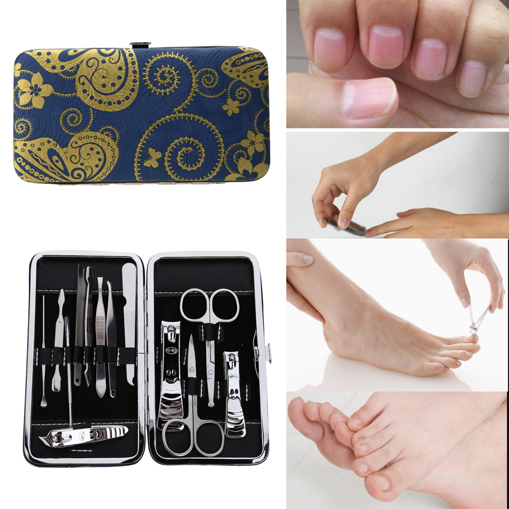 13pcs Pedicure Scissor Tweezer Knife Portable Manicure Set Ear pick Utility Nail Clipper Kit Stainless steel Nail Care Tool&Prop 7 in 1 stainless steel portable nail clipper set