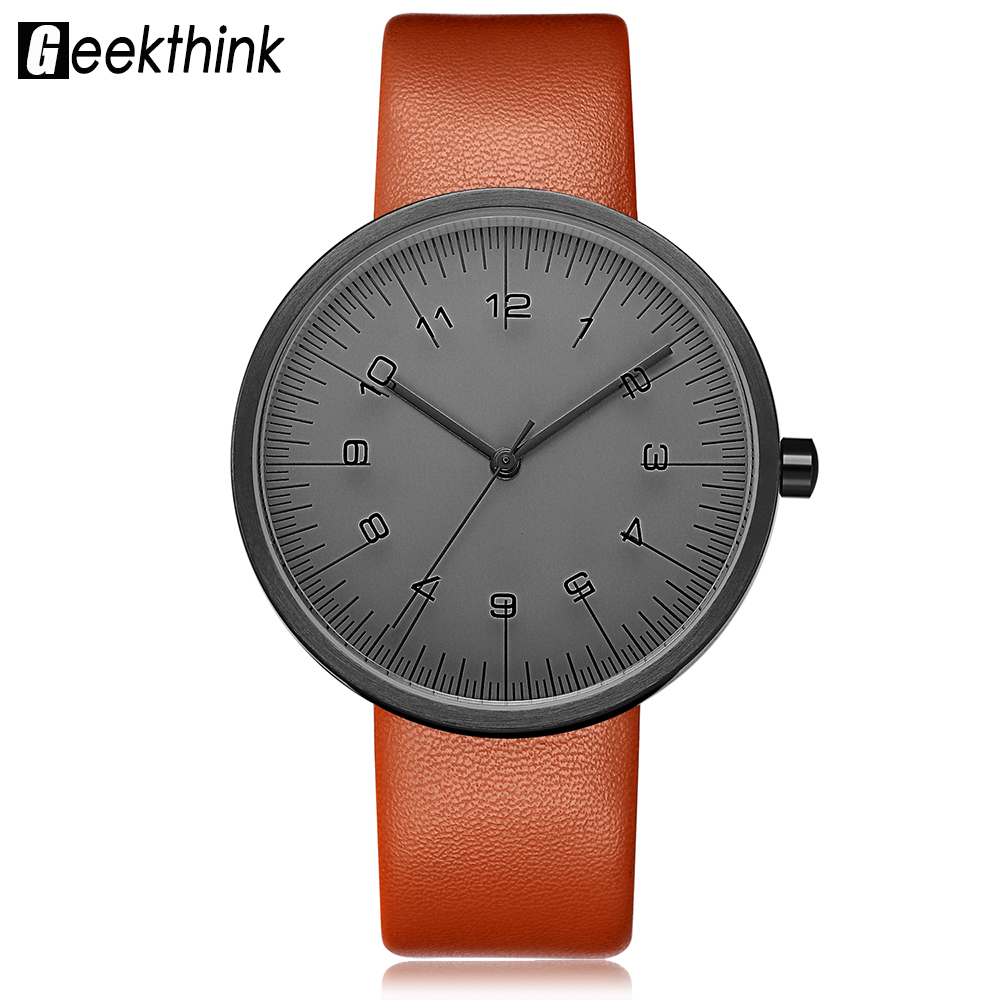 GEEKTHINK Top Luxury Brand Quartz Watch Women Fashion Leather strap Casual Japan quartz-watch Classic Creative clock female