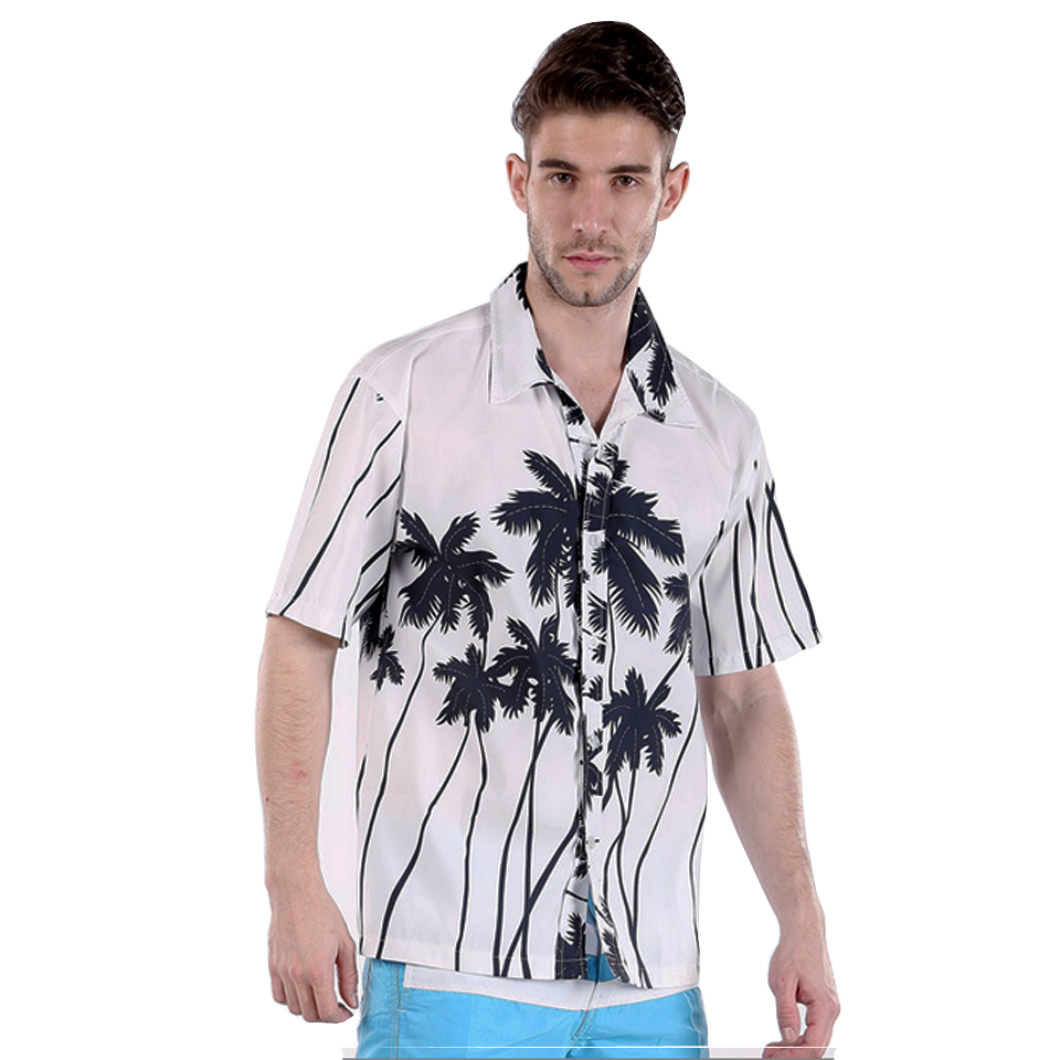 Mens Hawaiian Shirt Floarl Coconut Tree Men Short Sleeve