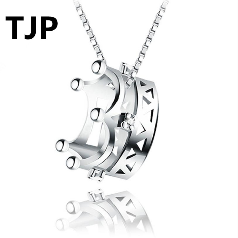TJP Classic Crown Princess Pendants Necklace For Women Wedding Party Fashion 925 Silver Choker Girl Valentines Day