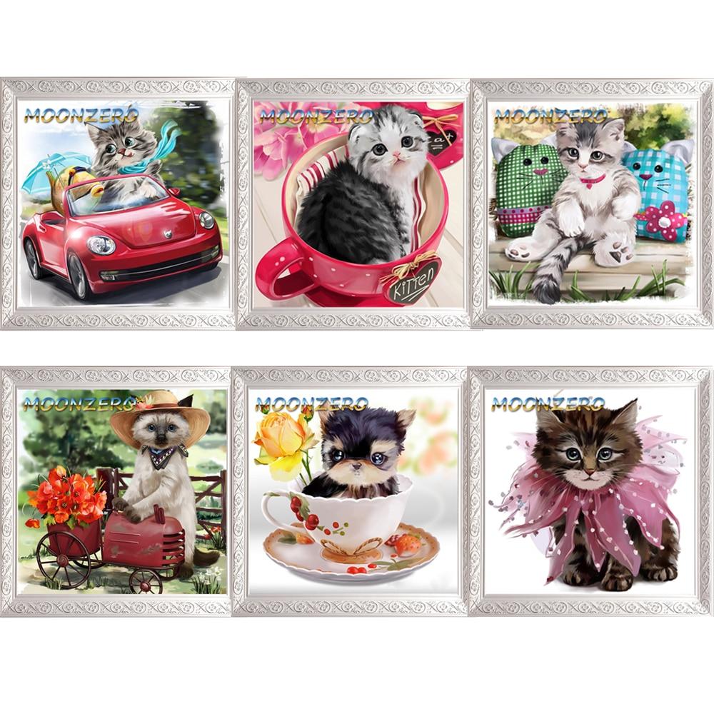 5D fai da te diamante mosaico ricamo animali gatto carino pieno - Arti, mestieri e cucito