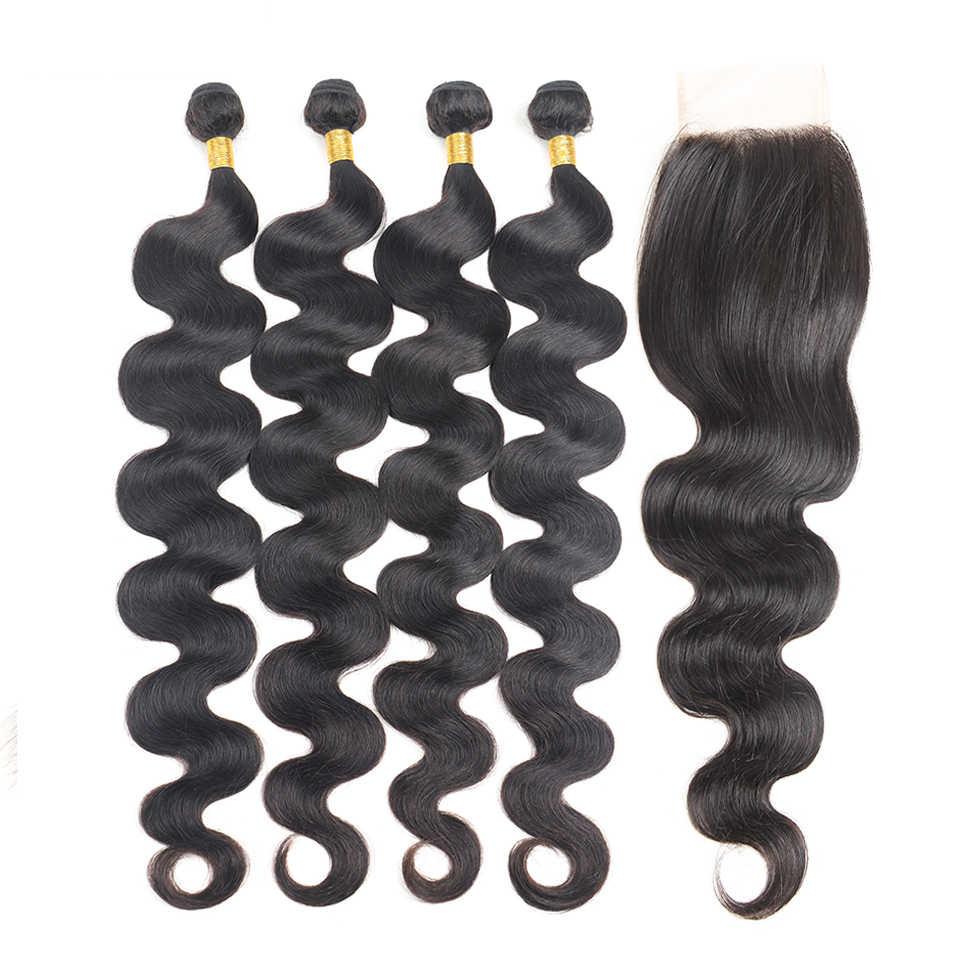 Extensiones de pelo ondulado brasileño con cierre 30 32 34 pulgadas cabello humano brasileño ondulado Remy ofertas de extensiones envío gratis