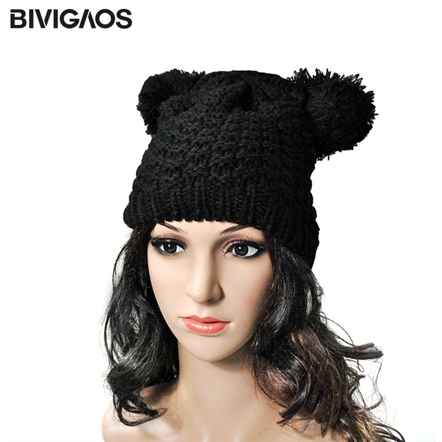 Free shipping Autumn and Winter Korea Fashionable Black Mouse Ears Knitted Cap...