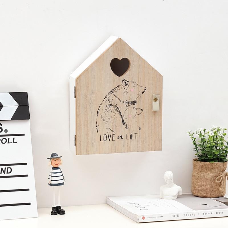 Деревянный ящик для хранения ключей, настенный Декор для дома, статуэтки, скандинавский ключ INS для хранения, вешалка, крючки, органайзеры дл