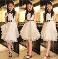 Vestidos de Las Niñas adolescentes 2016 para el Partido y La Boda Vestido de Verano Sin Mangas Vestido Acodado para Adolescentes Niñas Elegante Vestido de Encaje Blanco