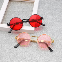 2019 Retro Round Pink Sunglasses Women Brand Designer Sun Glasses For Women Men Alloy Mirror Female Eyewear Shades UV400(China)