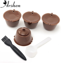 Arshen 4pcs Dolce Gusto Plsatic Refillable Coffee Capsule with Spoon Brush 200 Times Reusable Compatible Nescafe