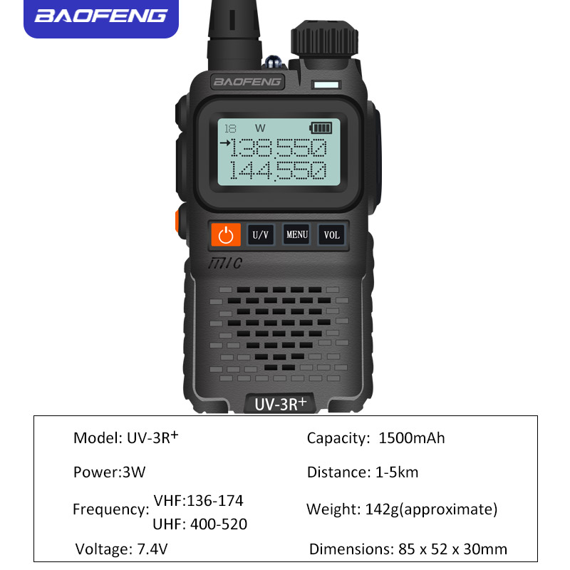 Image 3 - Baofeng UV 3R+ Mini Radio Kid Walkie Talkie UV 3R  Dual Band VHF UHF Portable Two Way Radio Ham Hf Transceiver UV 3R Woki Toki-in Walkie Talkie from Cellphones & Telecommunications