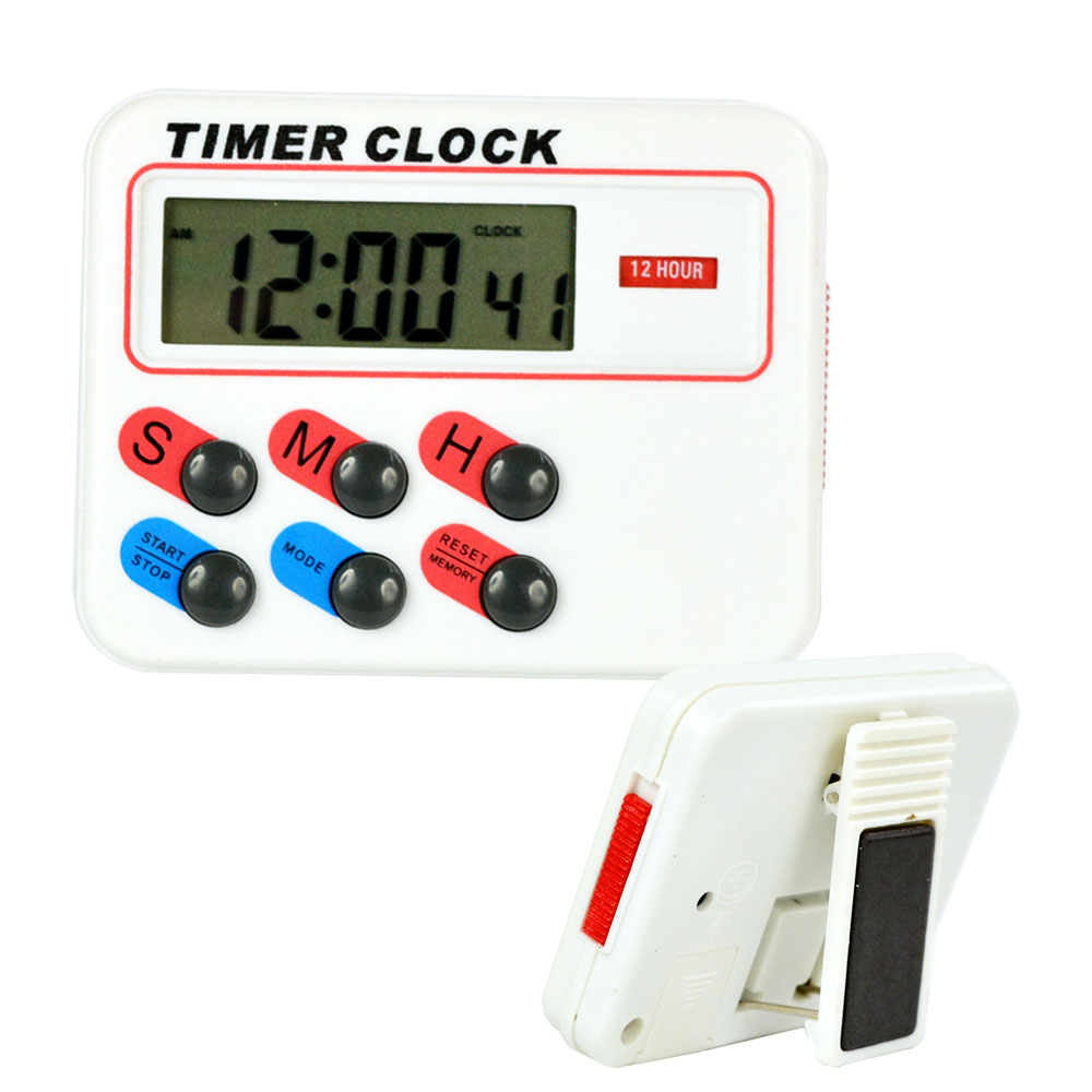 12/24 Hours Digital Kitchen Timer Clock Memory Stopwatch Count Up ...