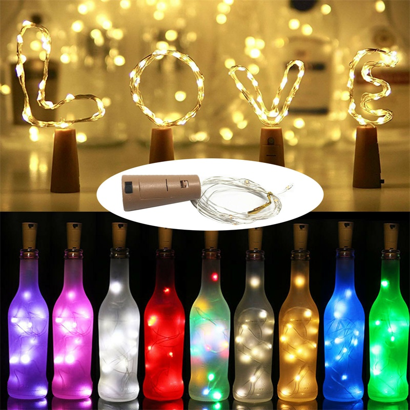 3.28FT 1M 10 LED Cork Shaped Copper Wire String Light Wine Bottle LR44 Battery Wine Bottle For Glass Craft Xmas Party Decoration