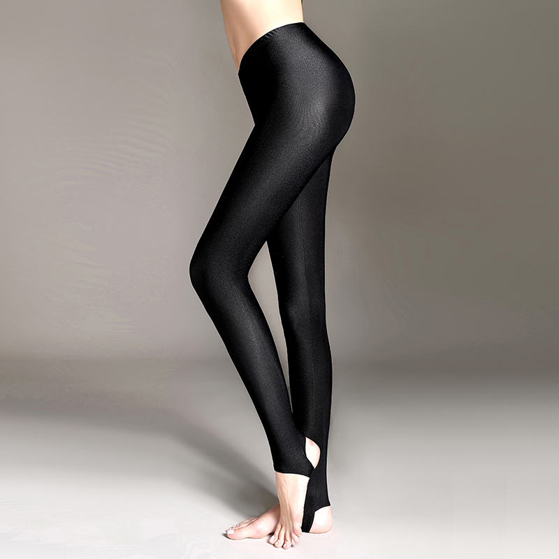 Rylanguage  Women Shiny Black Legging Autumn Ladies Push Up Slim Leggings High Waist Stretchy Soft  Large Size Women Legging