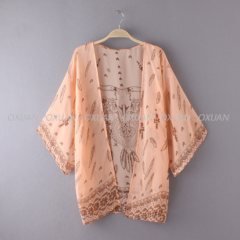 Women Shirt Kimono Boho Cardigan Vintage Geometric Print Blouse Loose Shawl Lady Bohemian Coat Jacket Two Color 11