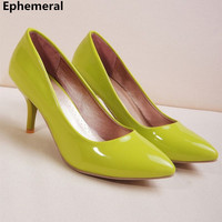Ladies Simple Comfortable Plain Pointy Toe Thin High heel Shoes Plus size 34 45 Women Pumps For OL Slip On Green Rose red Pink