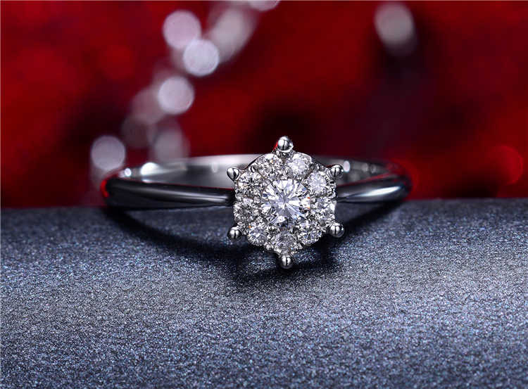 d5d86553f Classic Lover Couple Rings 925 Silver Daisy Flower Heads Classic CZ Setting  Luxury Wedding Ring for
