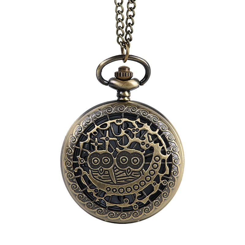 9050   New Queen Moon Retro Pocket Watch Valentine Cute Owl Mini Pocket Watch With Necklace