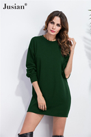 Jusian Women S Fashion Casual Solid Color Lantern Sleeve Dress O Neck Long Sleeve Loose Thickening