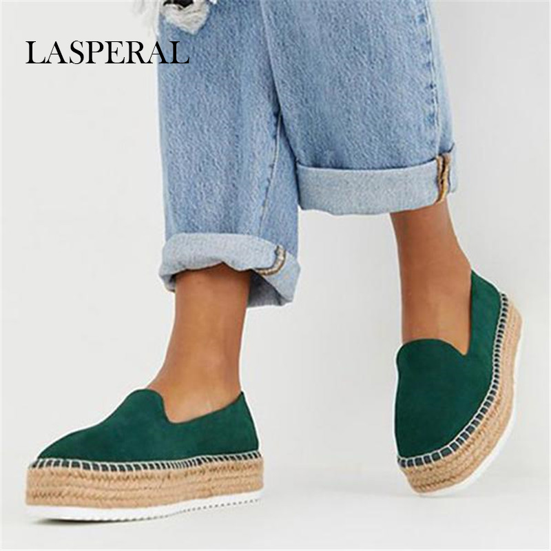 LASPERAL Fashion Faux Suede Espadrilles Shoes  Casual Loafers Women  Flats Ballet Flats Ladies  Zapatos Mujer