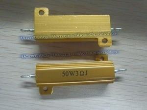 Image 3 - 50 ชิ้น/ล็อต 50 วัตต์ Metal Shell อลูมิเนียมทองตัวต้านทาน RX24 50 W 1R 2R 3R 4R 5R 6R 8R 10R 15R 50R 100R 220R 1 K OHM