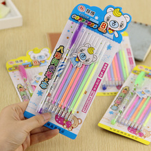 цены 1 Pen with 8 Refill/set New Cute Colorful Gel Pen Set School Supplies Watercolor Pens School Office Stationery