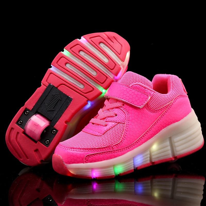 0e6cadde6a13be LED Children Heelys Shoes With Wing Automatic Lamp Flashing Sport Casual  Shoes Kids Sneakers Fashion Breathable For Boys   Girls