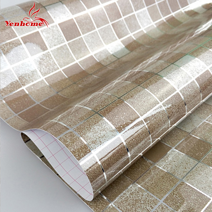 10M PVC Mosaic Wall paper Modern Self adhesive Wallpaper Bathroom Kitchen Waterproof