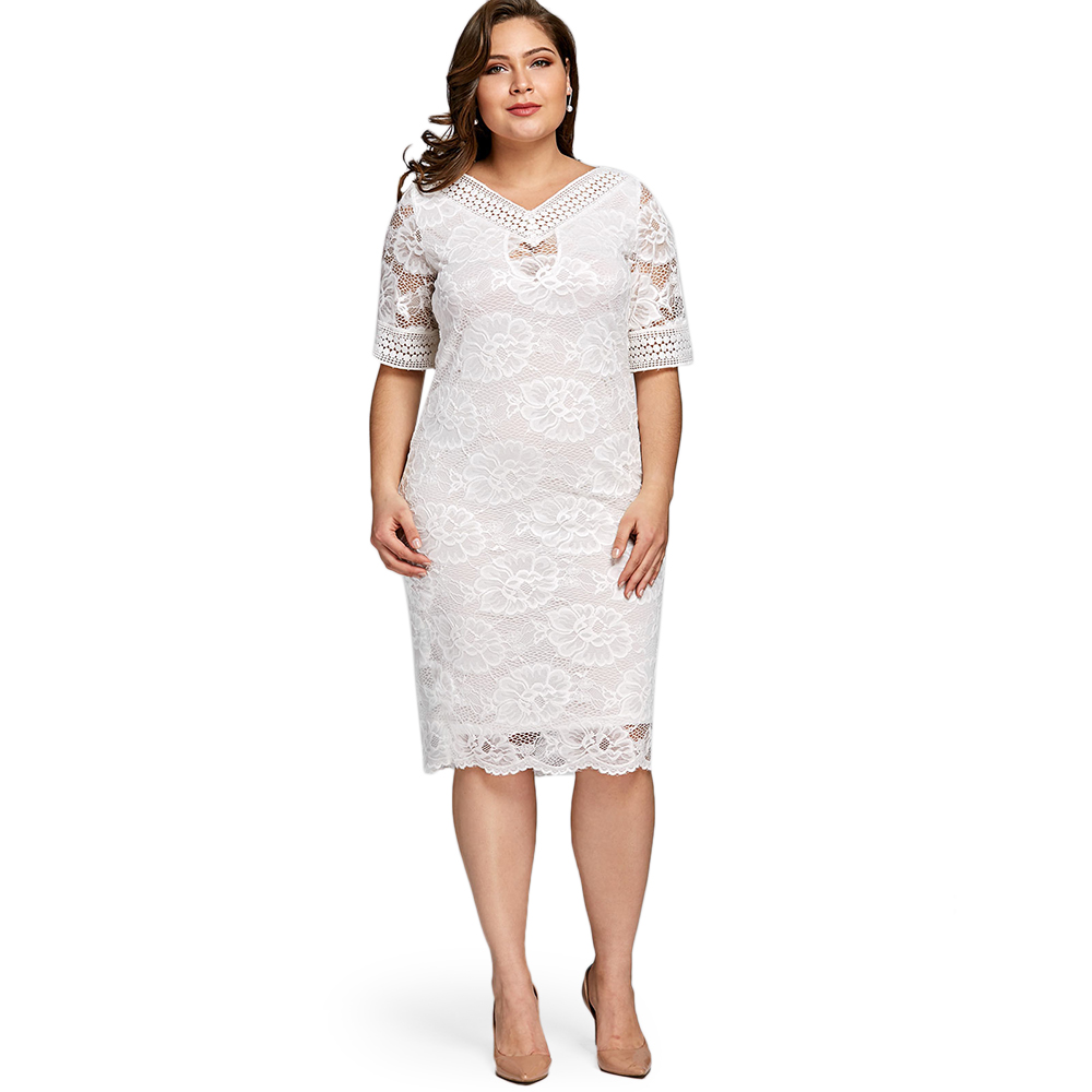 749dc219ddb2a Wipalo Women Summer Elegant Plus Size V Neck Half Sleeve Lace Bodycon Dress  Casual Party Midi Dress 2018 Fashion Big Size 5XL