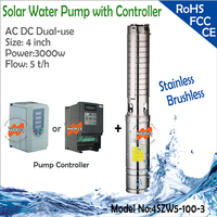 4inch 3000W AC220V 380V DC300V 530V Brushless High Speed Solar Water Pump With Permanent Magnet Synchronous