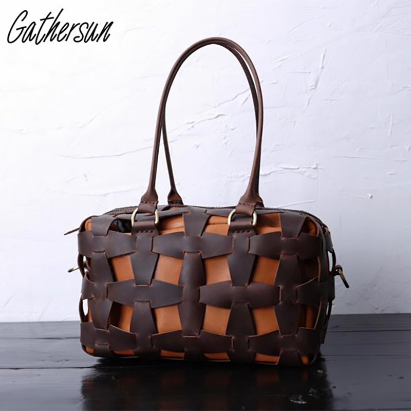 Gathersun Brand Original Design Alta calidad Totalmente hecho a mano Bolso de cuero genuino para mujer Bolso vintage de cuero de vaca para mujer