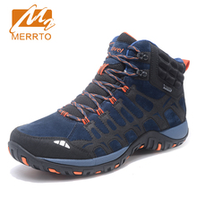 MERRTO Brand Men Sport Shoes waterproof Outdoor Walking Shoes Breathable Comfortable Cushioning Genuine Leather Sneakers MT18690