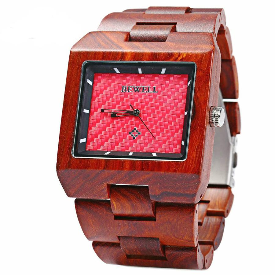 BEWELL Quartz Bamboo Watch for Man Wooden Watches with Fashion Sport Rectangle Wrist Watch Masculino Clock in Gift Box 016ABEWELL Quartz Bamboo Watch for Man Wooden Watches with Fashion Sport Rectangle Wrist Watch Masculino Clock in Gift Box 016A