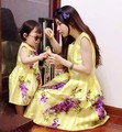 2017 new mother daughter dresses family matching mother and daughter clothes mommy and me vintage maxi floral dress plus size