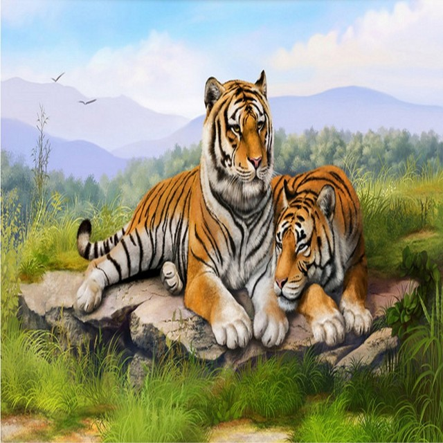 Custom 3d Wallpaper Grass Mountain Double Tiger Landscape Painting Living Room Bedroom Restaurant Office